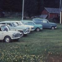 Autot rivissä Ilvesjärven pihanurmikolla