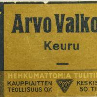 Arvo Valkola : tulitikkuetiketti