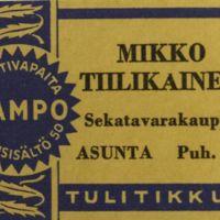 Mikko Tiilikaisen tulitikkuetiketti