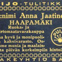 Anna Jaatisen kaupan tulitikkuetiketti