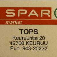 Spar market Topsin tulitikkuetiketti
